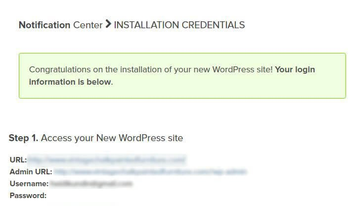 WordPress Login Credentials