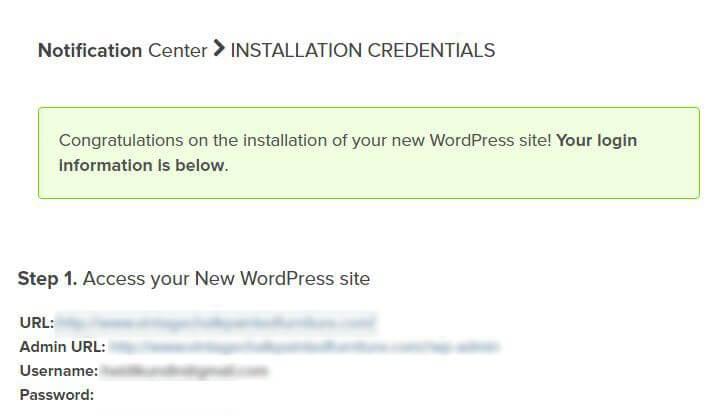 WordPress Login Credentials