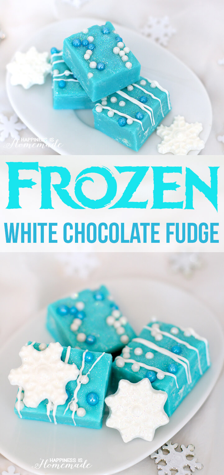 Inspired by the popular animated movie Frozen, this white chocolate and vanilla fudge comes together in under 5 minutes and uses only 4 ingredients!