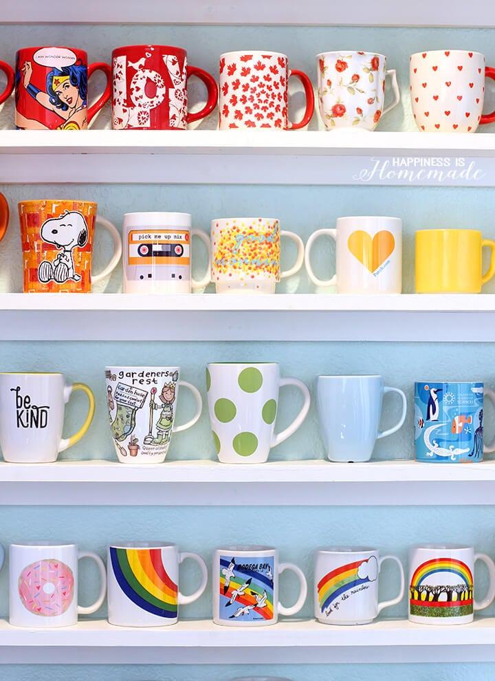 diy mug collection display shelves happiness is homemade