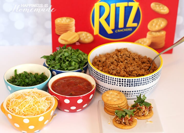 Making RITZ Cracker Taco Crisp Party Appetizers