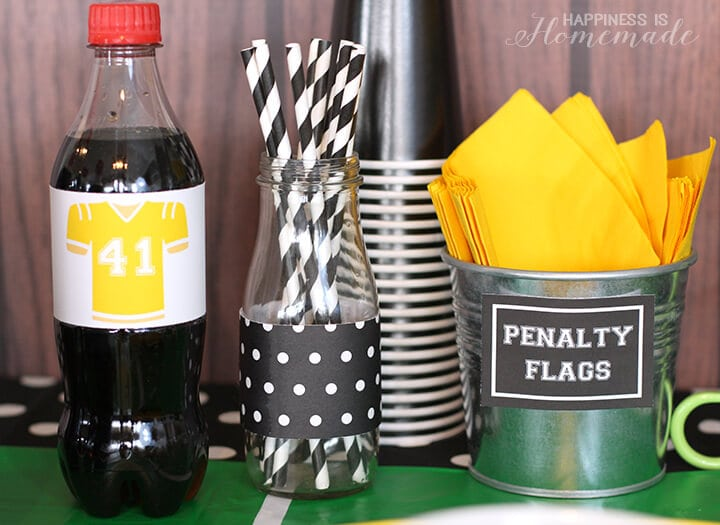 Penalty Flag Napkins and Coca Cola Football Players for Football Party Table