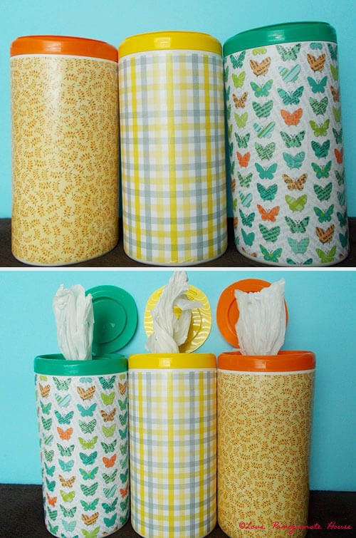 Recycled Plastic Bag Storage From A Wipes Container