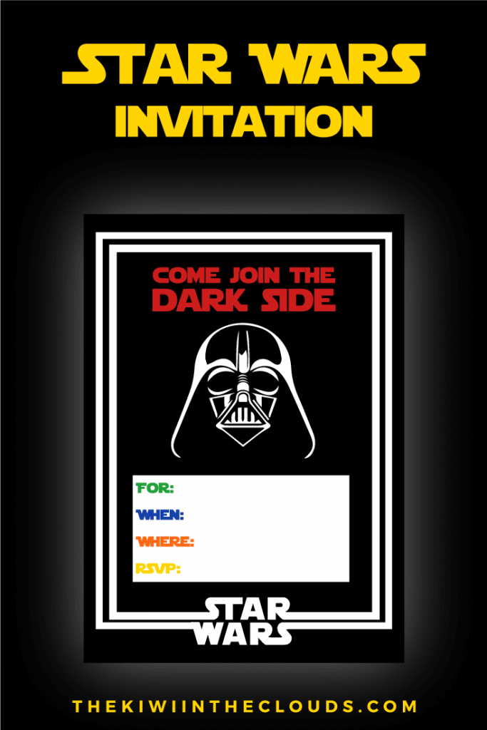 Star Wars Party Free Printables Darth Vader Invitation