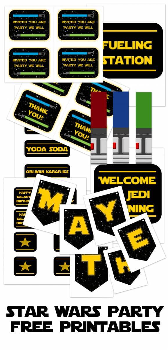 Free Star Wars Party Printables Invitations Decor By All Things With Purpose