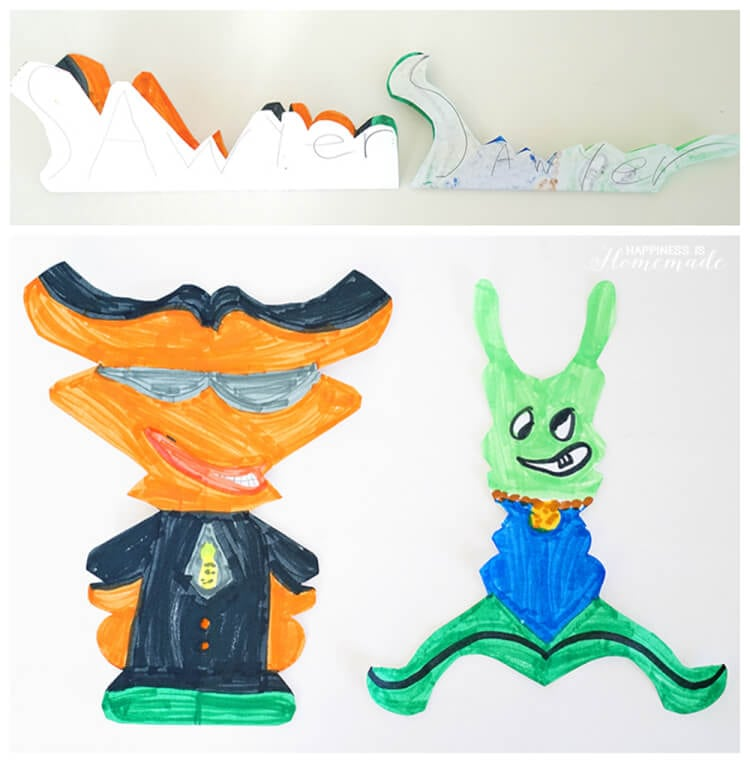Art for Kids - Making Alien Creatures from Student Names