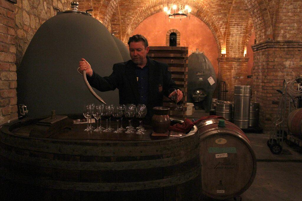 Castello di Amorosa - Sampling Wine from the Barrel