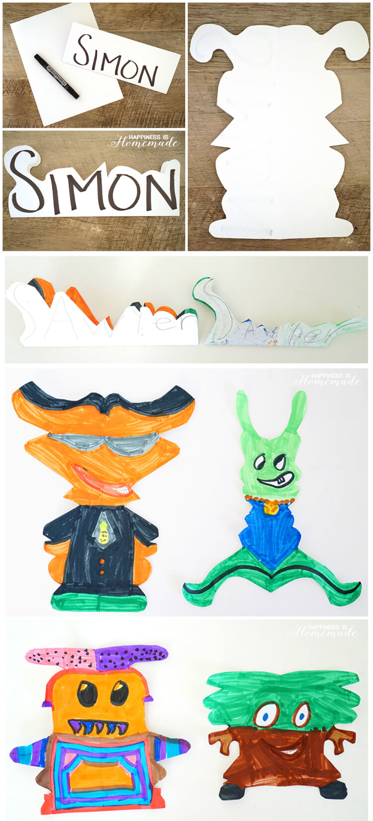 Kids Art: Alien Name Creatures - Happiness is Homemade