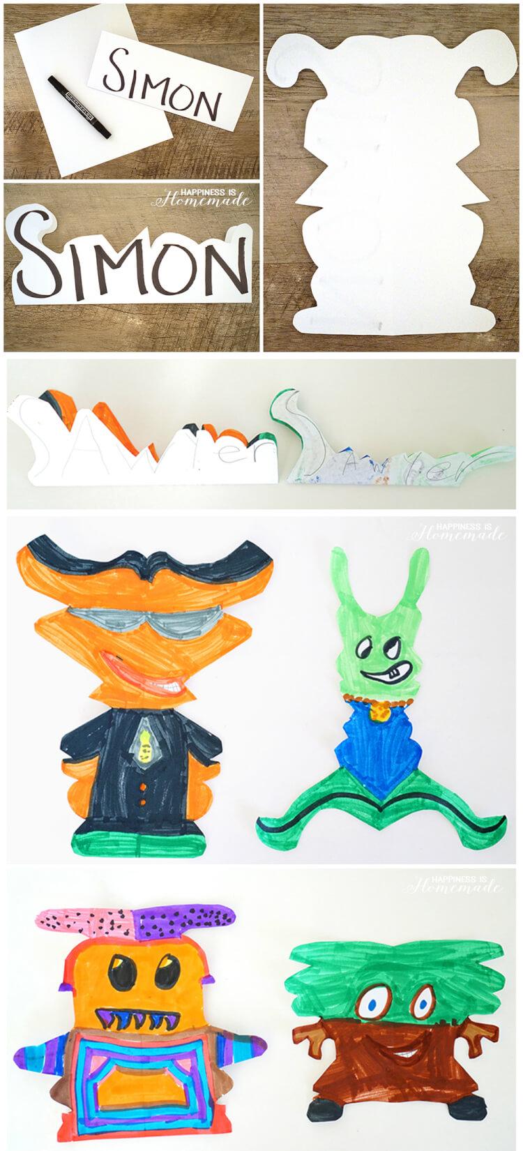 Kids Art Alien Name Creatures Happiness Is Homemade