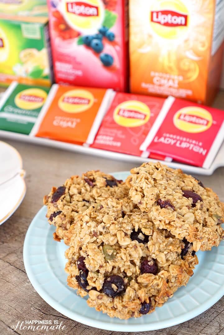 Vanilla Berry Chai Breakfast Cookies with Lipton Tea