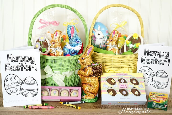 Adorable Easter Baskets Filled with See's Candy and Printable Coloring Books