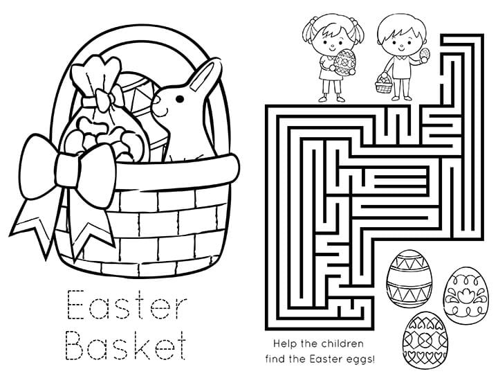 Easter Baskets Printable Coloring Book on coloring pages for first day of