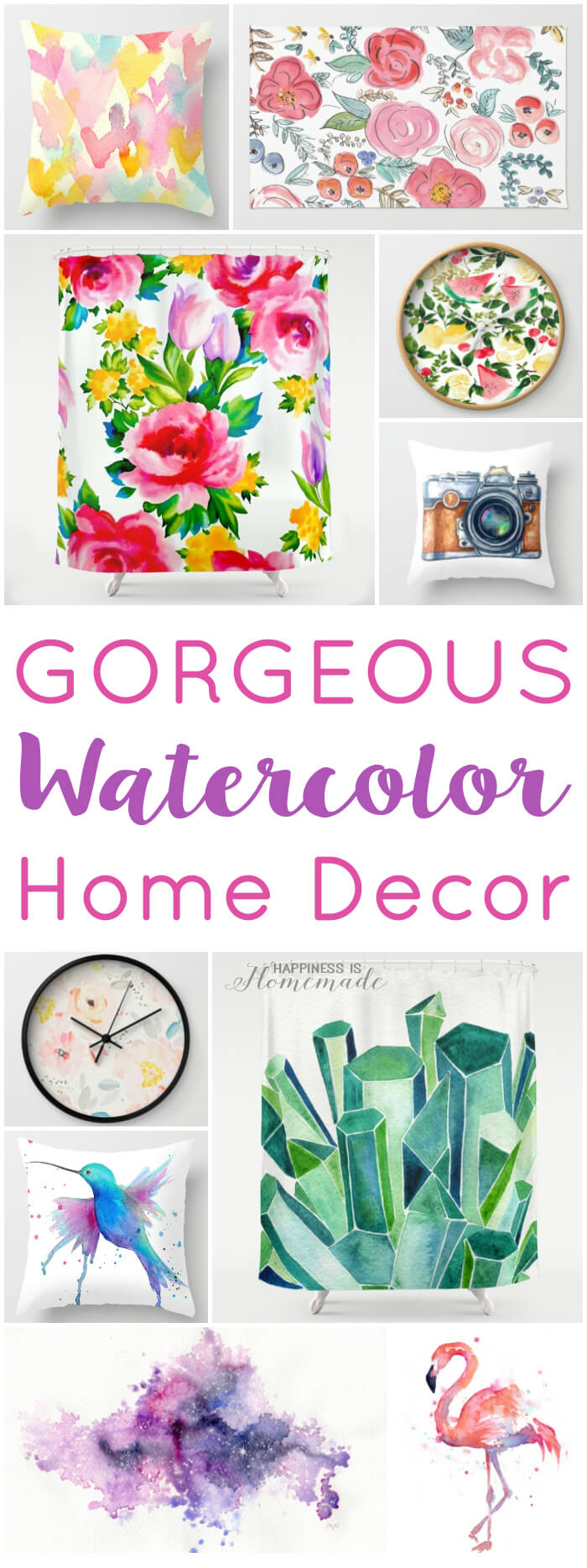 Gorgeous Watercolor Home Decor - Pillows Shower Curtains Rugs Art Prints