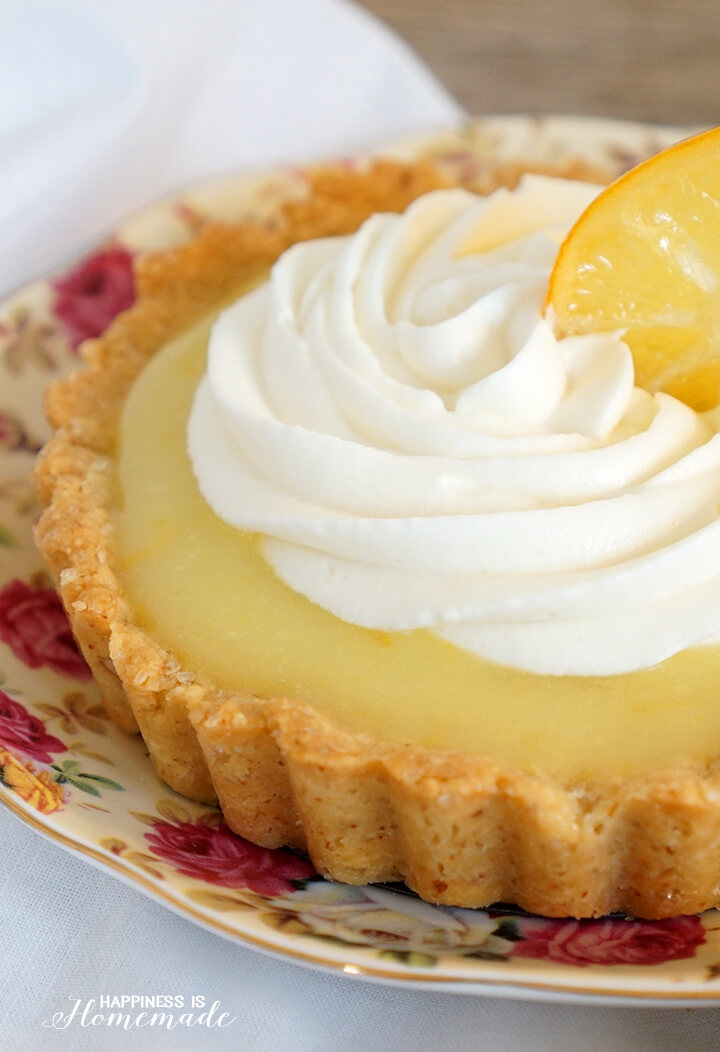 Lemon Tart with Whipped Cream and Candied Lemons
