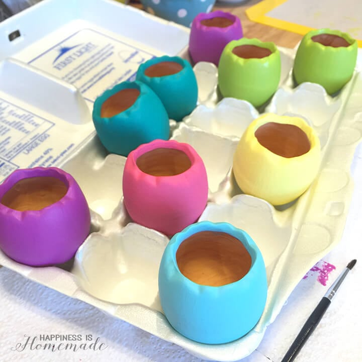 Painted Ceramic Eggshell Planters - Easter Eggs for Spring