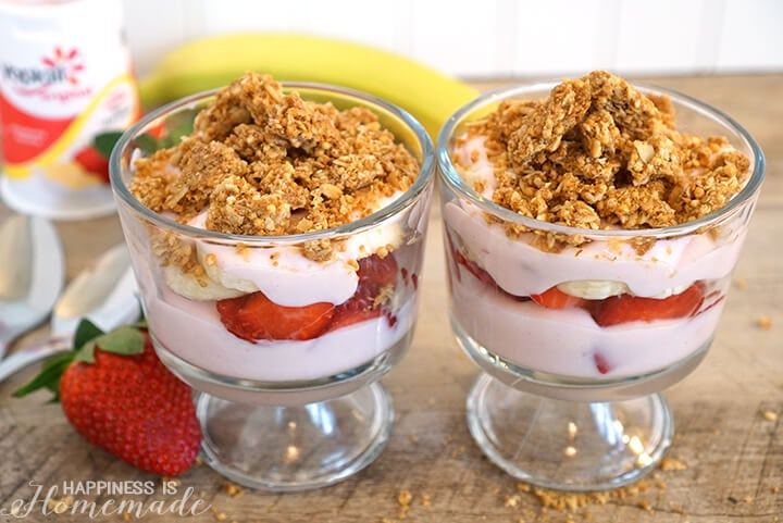 Strawberry Banana Parfait Snack
