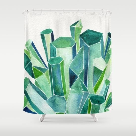 emerald-watercolor-shower-curtains