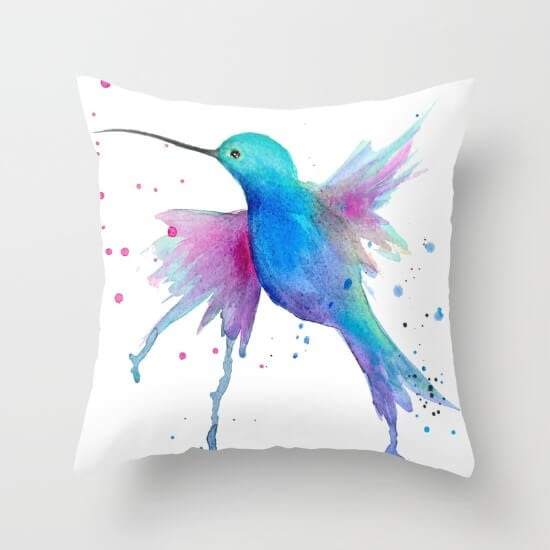 hummingbird-watercolor-pillows