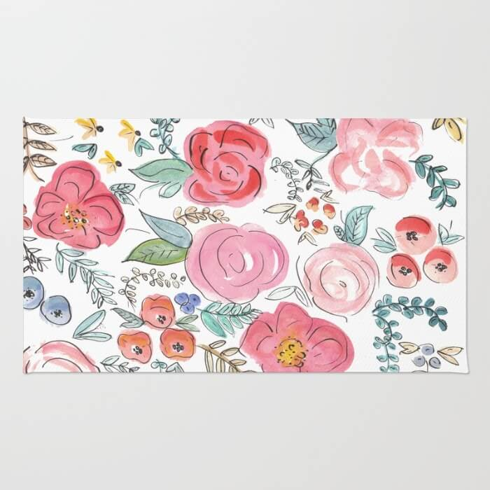 watercolor-floral-print-rugs