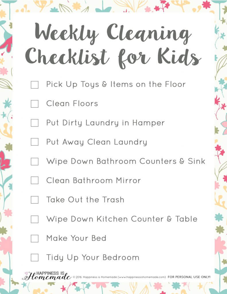 household chore checklist