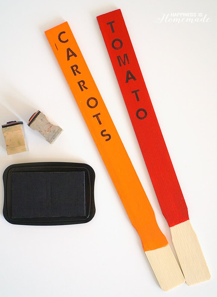 Stamped Paint Stick Garden Markers