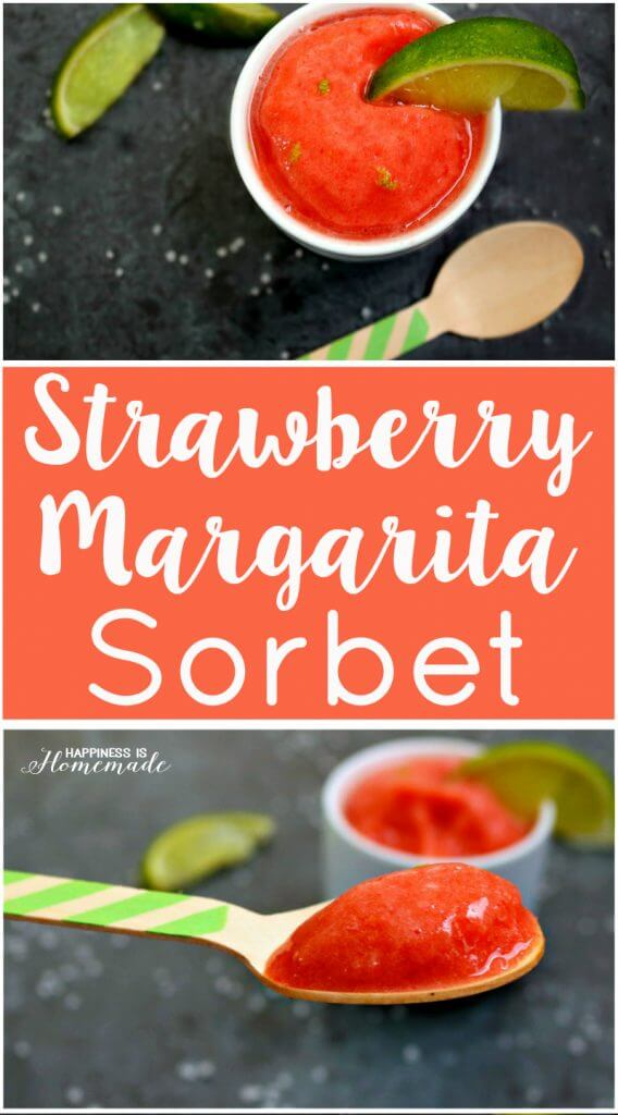Strawberry Margarita Sorbet - Alcoholic and Non-Alcoholic Versions