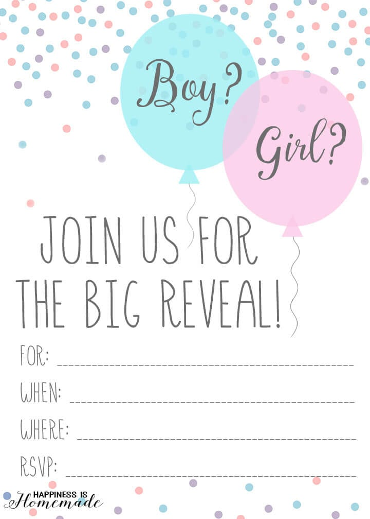 Baby Gender Reveal Party Invitations Happiness is Homemade – Gender Reveal Party Invitations