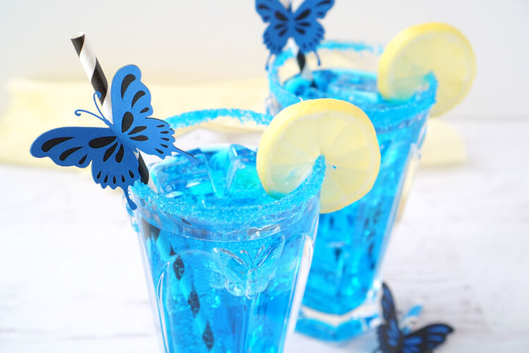 Blue Butterfly Cocktail Inspired by Alice Through the Looking Glass