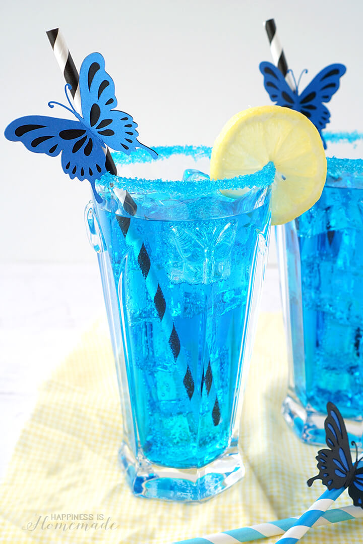 Electric Blue Butterfly Cocktail and Mocktail Inspired by Alice Through the Looking Glass