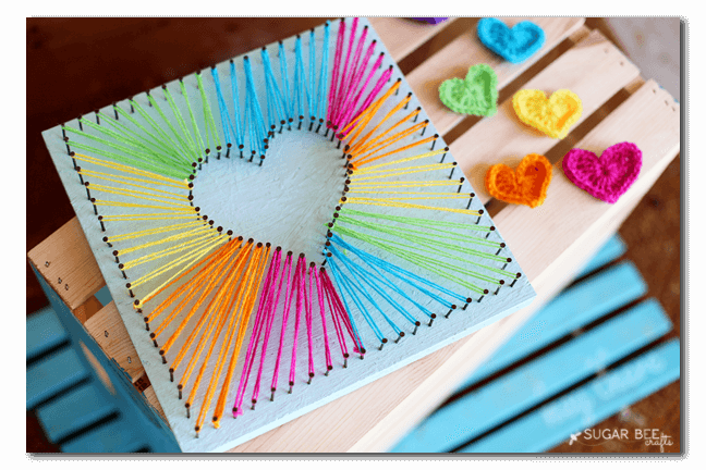 Beautiful How To Make Rainbow Heart String Art