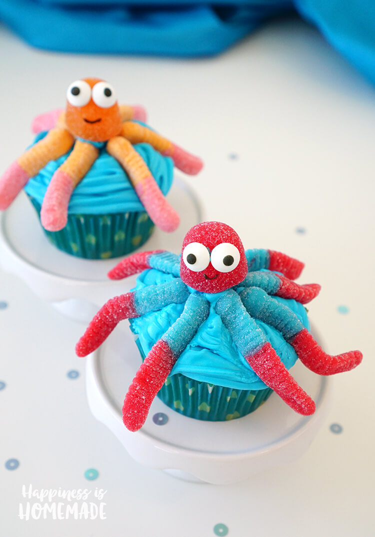 Candy Gummi Octopus Cupcakes for Finding Dory Movie Premiere Party