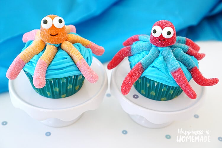 Cute and Easy Octopus Cupcakes for Under the Sea Beach Party