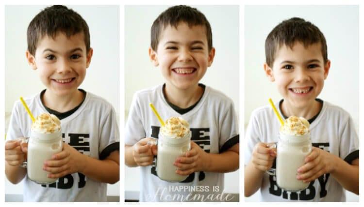 Drinking a Healthy Banana Cream Pie Protein Shake Smoothie