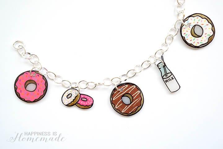 Easy DIY Shrinky DInk Donut Charm Bracelet