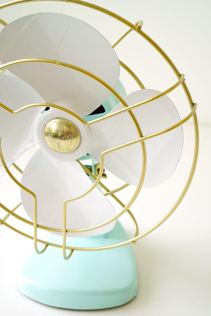 Gold and Mint Vintage Fan