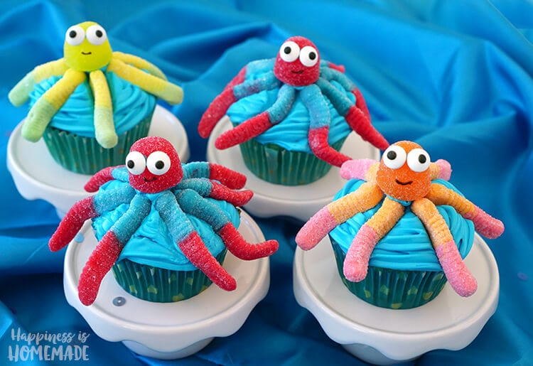 Gummi Candy Octopus Cupcakes for Ocean Beach Finding Dory Party