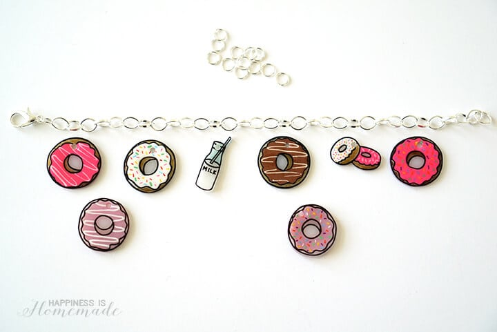 How to Make a DIY Shrinky Dink Shrink Plastic Donut Charm Bracelet