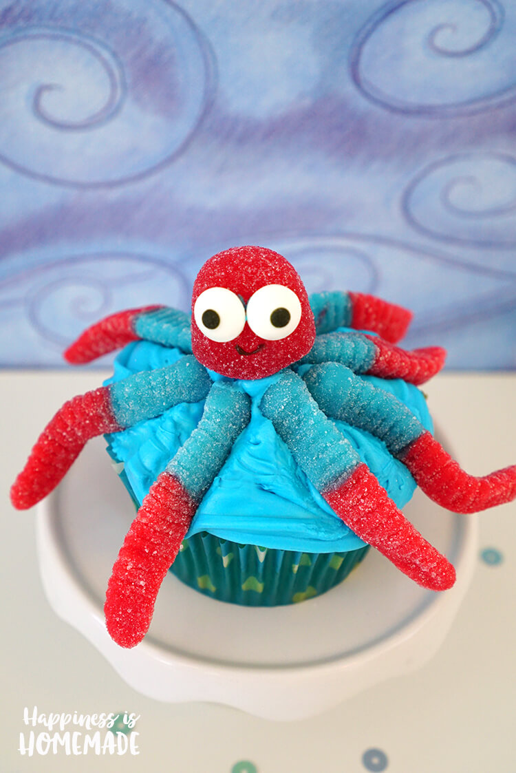 Octopus Cupcake for Finding Dory Movie Party