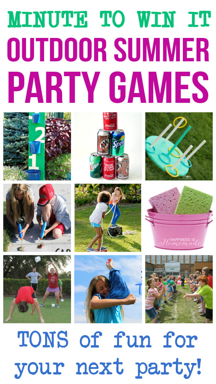 Minute to win it outdoor summer party games happiness is for Birthday games ideas for adults