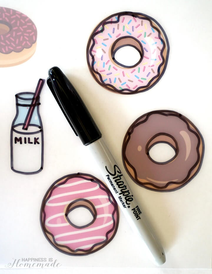 Tracing Donut Clip Art for Shrinky Dink Charm Bracelet