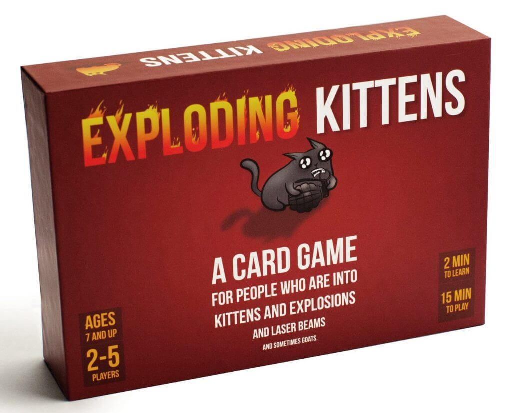 Exploding kittens is a card game for people who are into kittens and explosions and laser beams and sometimes goats