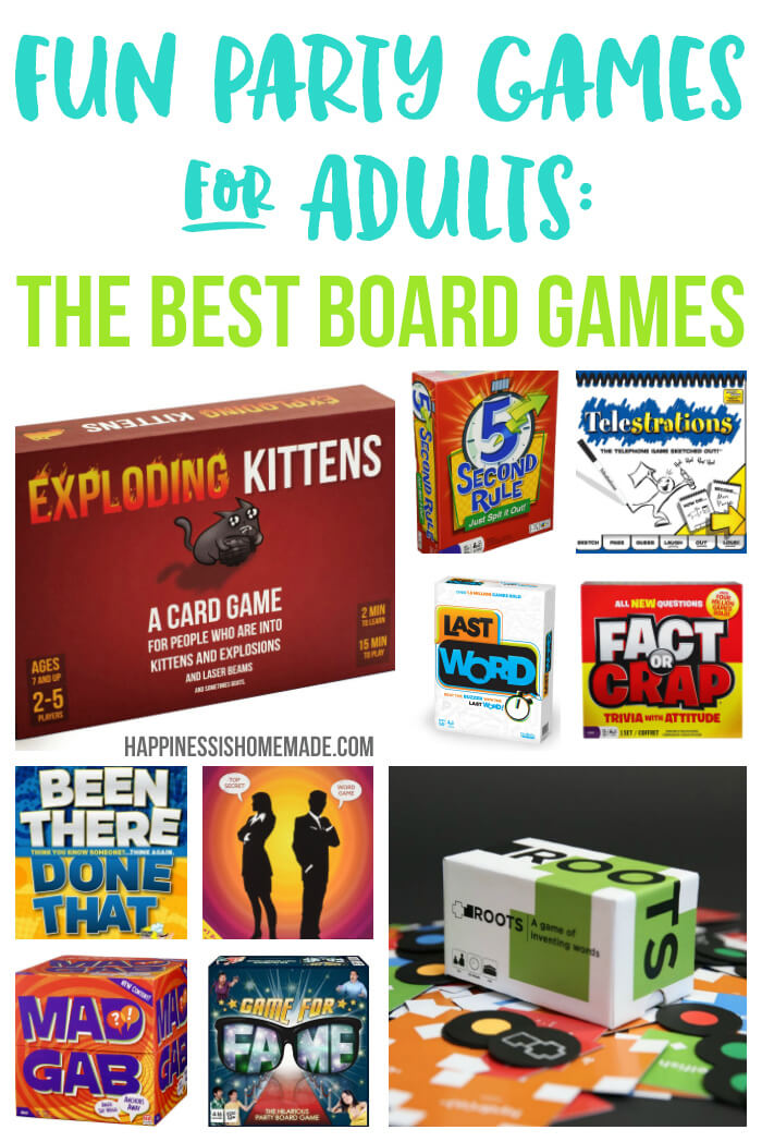 Fun Party Board Games for Adults - These 20+ board games are the most fun party games for adults! Game night doesn't have to be boring with these awesome adult party games that grown-ups will actually WANT to play!