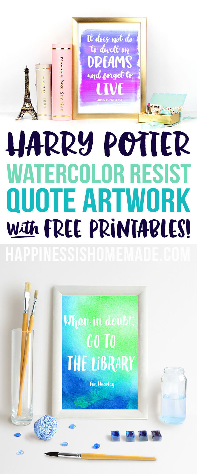 Watercolor Resist Harry Potter Quotes Happiness Is Homemade