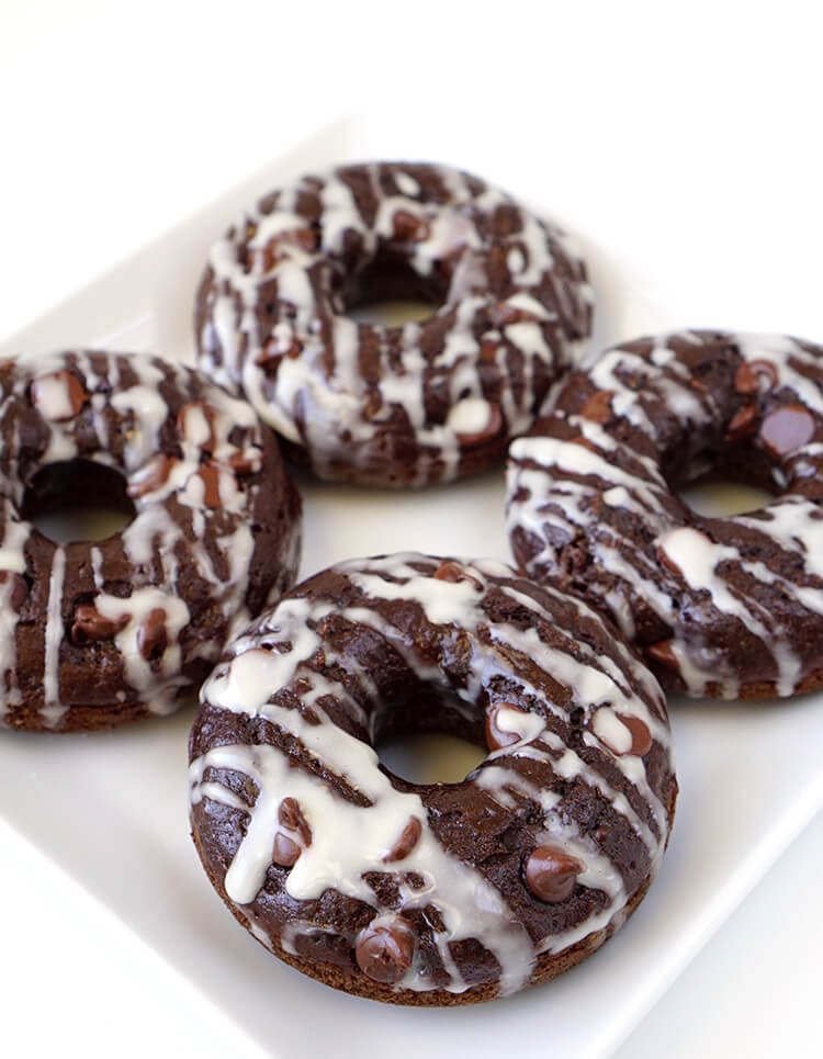 Double Chocolate Zucchini Cake Donuts Happiness Is Homemade