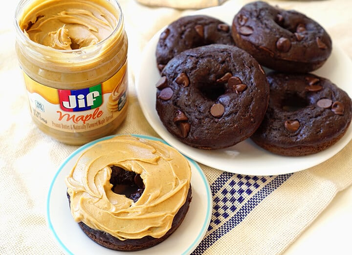 Jif Peanut Butter Maple Spread on Chocolate Donuts