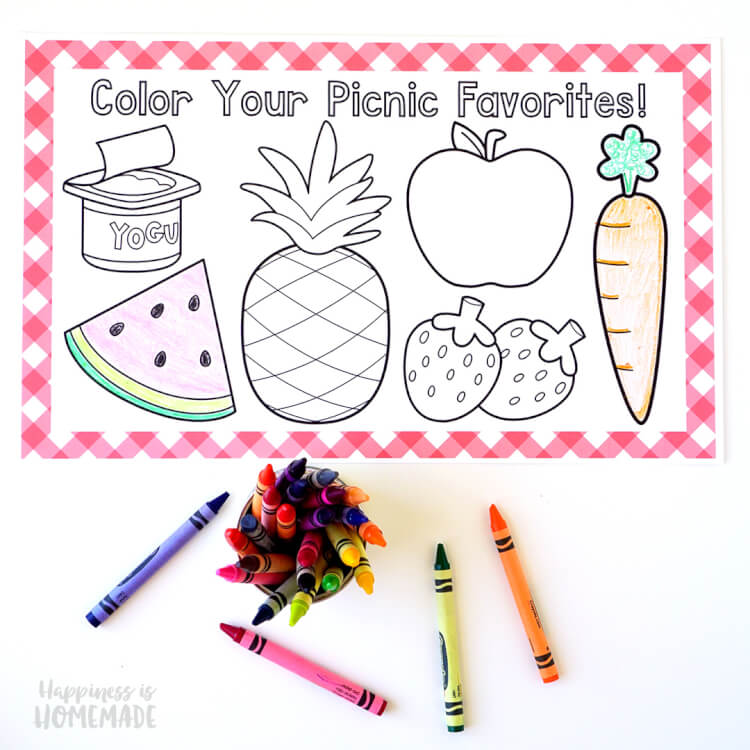 Picnic Coloring Placemats + Grab \'N\' Go Lunches - Happiness is Homemade