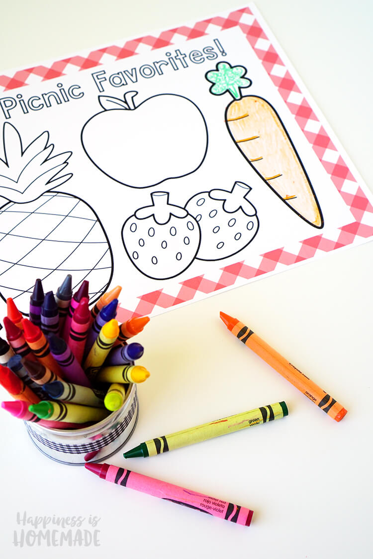Picnic Favorites Coloring Placemats for Kids