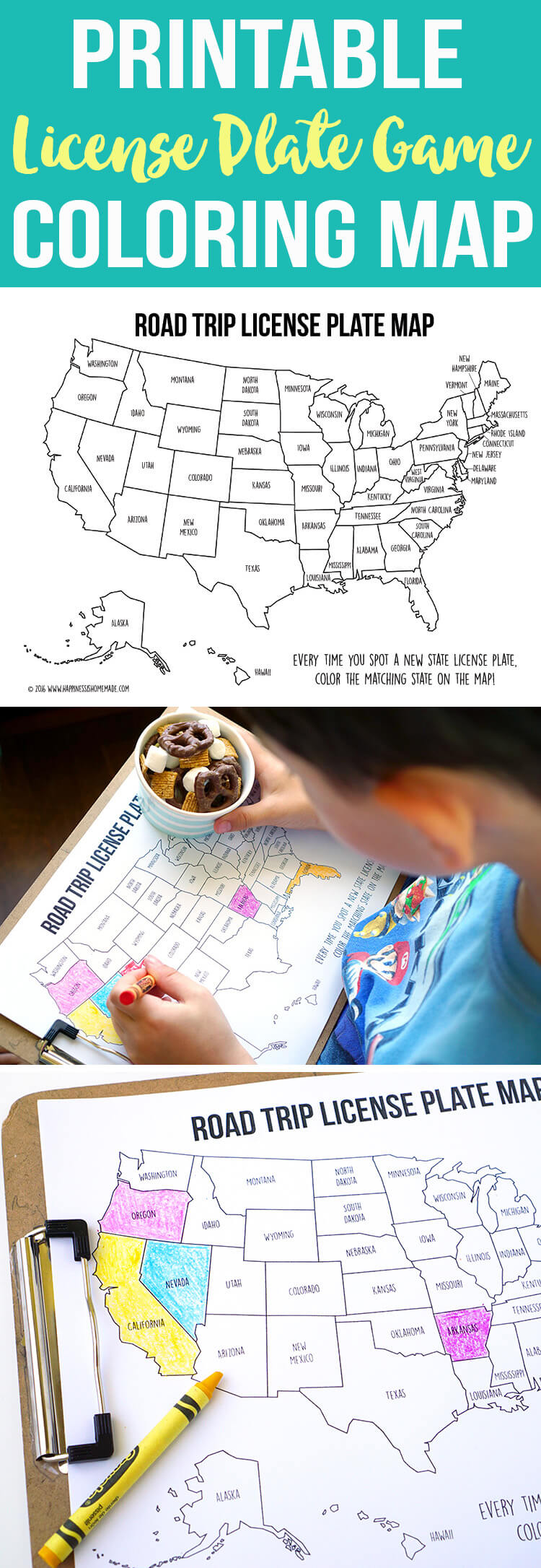 picture regarding License Plate Game Printable identified as Highway Vacation Game titles: License Plate Coloring Map + Smores Snack