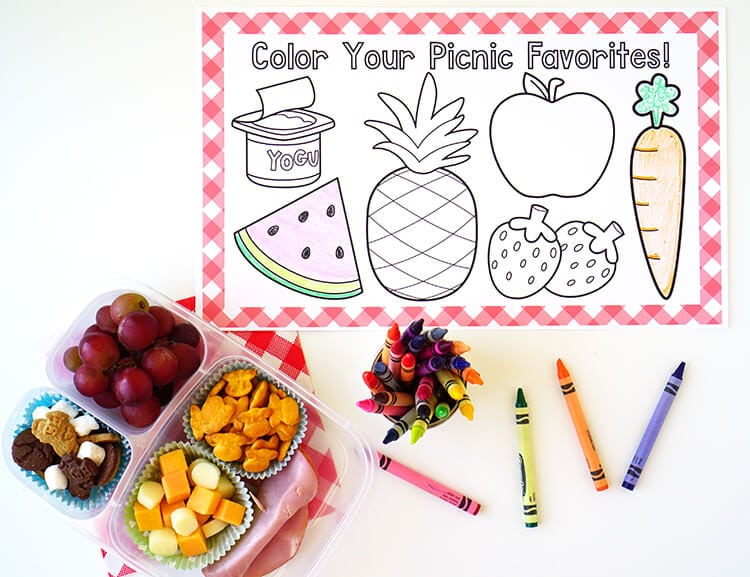 picnic coloring placemats   grab  u0026 39 n u0026 39  go lunches