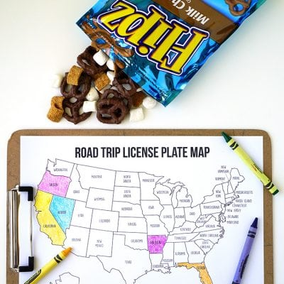 Road Trip Games: License Plate Coloring Map + S'mores Snack Mix